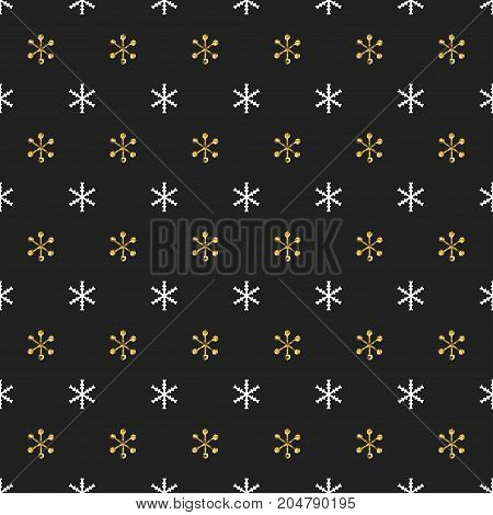 Christmas New Year seamless pattern with snowflakes. Holiday background. Gold snowflakes. Xmas winter decoration. Golden texture. Hand drawn vector illustration. Snow pattern. Wrapping gift paper