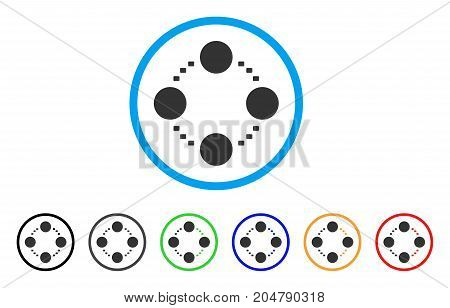 Circular Relations rounded icon. Style is a flat circular relations gray symbol inside light blue circle with black, gray, green, blue, red, orange color versions.