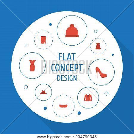Flat Icons Heeled Shoe, Sundress, Fedora And Other Vector Elements