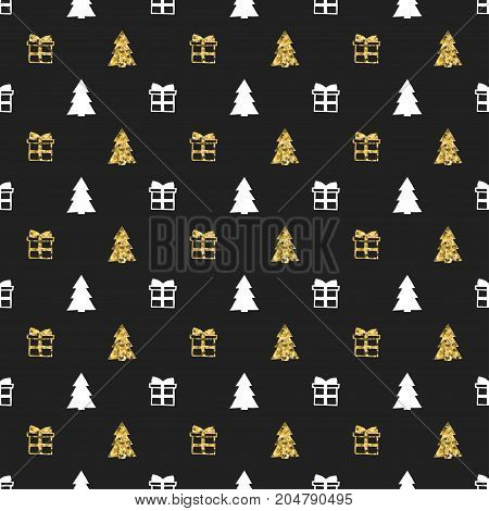 Christmas New Year seamless pattern with gift christmas tree. Holiday background. Gold white gift. Xmas winter doodle decoration. Golden texture. Hand drawn vector illustration. Wrapping gift paper