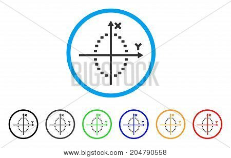 Dotted Ellipse Plot rounded icon. Style is a flat dotted ellipse plot grey symbol inside light blue circle with black, gray, green, blue, red, orange versions.