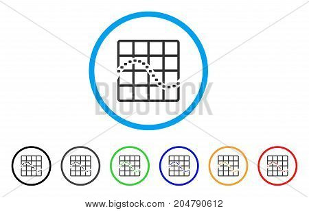 Dotted Function Chart rounded icon. Style is a flat dotted function chart grey symbol inside light blue circle with black, gray, green, blue, red, orange color versions.