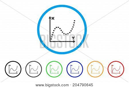 Dotted Function Graph rounded icon. Style is a flat dotted function graph grey symbol inside light blue circle with black, gray, green, blue, red, orange variants.