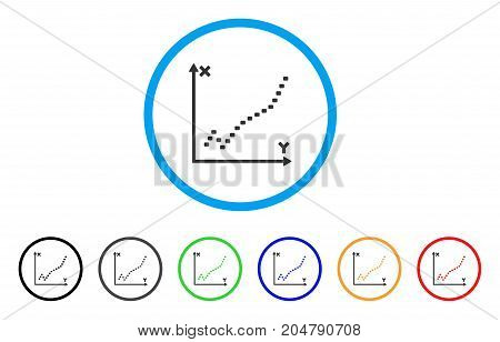 Dotted Function Plot rounded icon. Style is a flat dotted function plot gray symbol inside light blue circle with black, gray, green, blue, red, orange color versions.