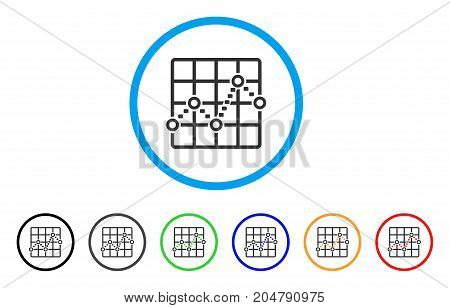 Dotted Line Grid Plot rounded icon. Style is a flat dotted line grid plot gray symbol inside light blue circle with black, gray, green, blue, red, orange variants.