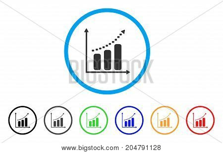 Dotted Positive Trend rounded icon. Style is a flat dotted positive trend grey symbol inside light blue circle with black, gray, green, blue, red, orange versions.