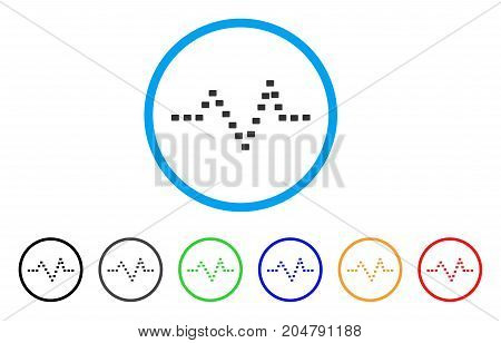 Dotted Pulse rounded icon. Style is a flat dotted pulse grey symbol inside light blue circle with black, gray, green, blue, red, orange color versions. Vector designed for web and software interfaces.