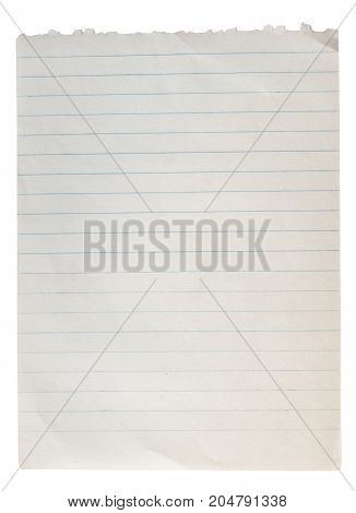 Blank Paper torn ,wrinkles isolated on white background