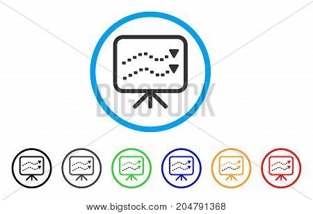 Dotted Trends Board rounded icon. Style is a flat dotted trends board gray symbol inside light blue circle with black, gray, green, blue, red, orange variants.