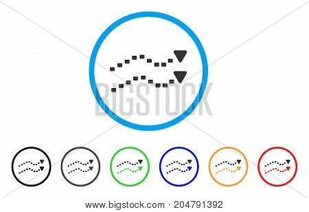 Dotted Trends rounded icon. Style is a flat dotted trends gray symbol inside light blue circle with black, gray, green, blue, red, orange variants. Vector designed for web and software interfaces.