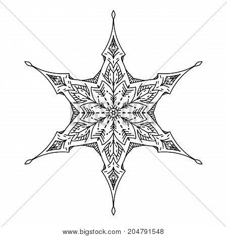 Star in decorative style. Stock line vector illustration. Outline hand drawing coloring page for adult coloring book