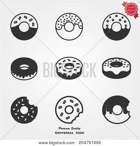 Doughnut with frosting sprinkles line art icon for food apps and websites