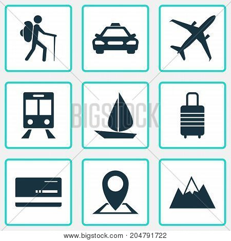 Traveling Icons Set. Collection Of Boat, Land, Railway Carriage Elements