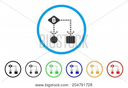Bitcoin Algorithm Scheme rounded icon. Style is a flat bitcoin algorithm scheme grey symbol inside light blue circle with black, gray, green, blue, red, orange versions.