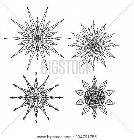 Set of stars in decorative style. Stock line vector illustration. Outline hand drawing coloring page for adult coloring book
