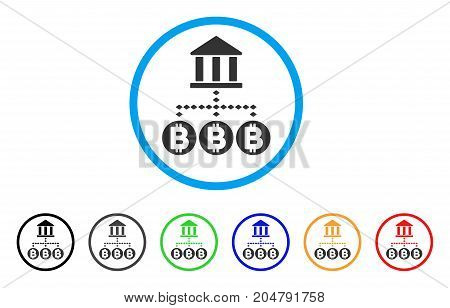 Bitcoin Bank Structure rounded icon. Style is a flat bitcoin bank structure gray symbol inside light blue circle with black, gray, green, blue, red, orange variants.