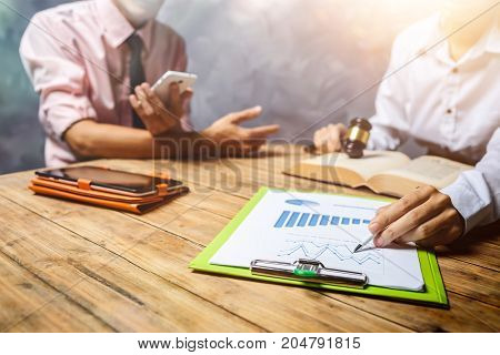 Teamwork Of Business Lawyer Consulting About Tax Financial Hardworking Discussion And Contract Infor