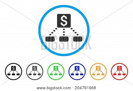 Cashout Scheme rounded icon. Style is a flat cashout scheme grey symbol inside light blue circle with black, gray, green, blue, red, orange variants. Vector designed for web and software interfaces.