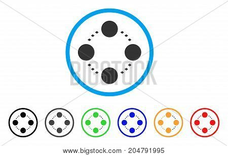 Circular Relations rounded icon. Style is a flat circular relations grey symbol inside light blue circle with black, gray, green, blue, red, orange variants.