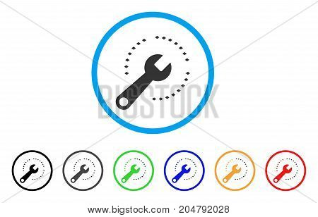 Configure Diagram rounded icon. Style is a flat configure diagram gray symbol inside light blue circle with black, gray, green, blue, red, orange versions.