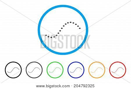 Dotted Function Line rounded icon. Style is a flat dotted function line gray symbol inside light blue circle with black, gray, green, blue, red, orange variants.