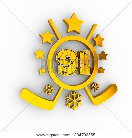 91 number illustration. Classic style sport team font. Golden material numbers decorated by lines and dots pattern. Ice hockey emblem. 3D rendering