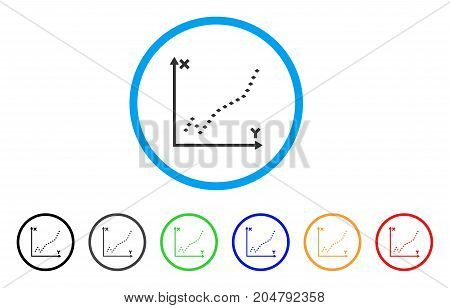 Dotted Function Plot rounded icon. Style is a flat dotted function plot grey symbol inside light blue circle with black, gray, green, blue, red, orange color versions.
