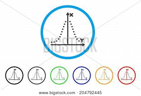 Dotted Gauss Plot rounded icon. Style is a flat dotted gauss plot grey symbol inside light blue circle with black, gray, green, blue, red, orange color versions.