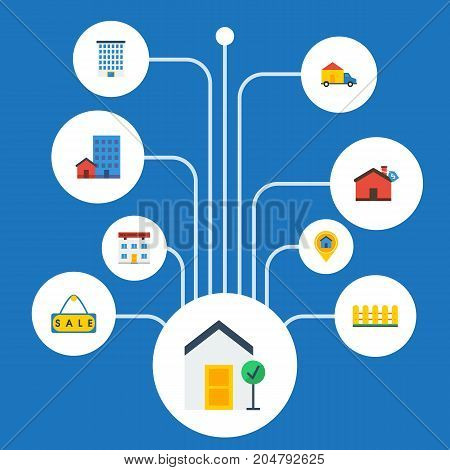 Flat Icons Choice, House, Real Estate And Other Vector Elements
