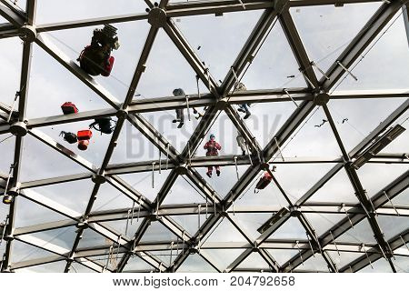 Workers Repair The Glass Roof Of Philharmonic