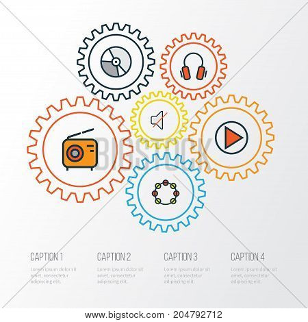 Audio Colorful Outline Icons Set. Collection Of Set, Circle, Play And Other Elements