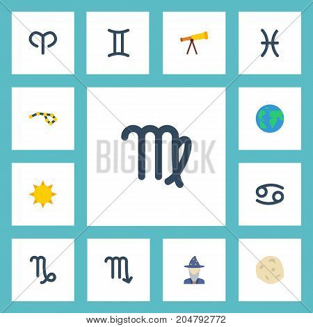 Flat Icons Earth Planet, Twins, Ram And Other Vector Elements