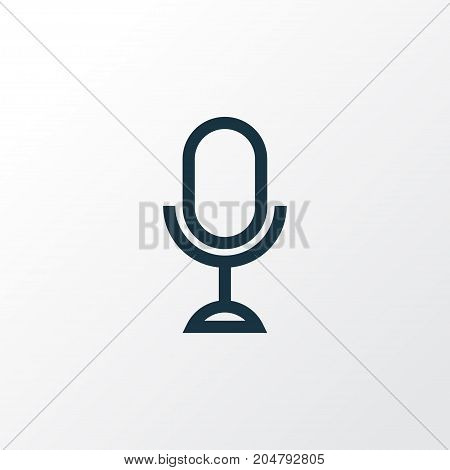 Premium Quality Isolated Karaoke Element In Trendy Style.  Microphone Outline Symbol.