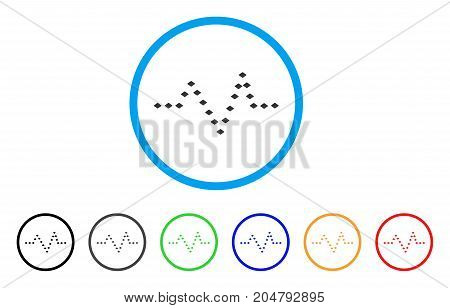 Dotted Pulse rounded icon. Style is a flat dotted pulse gray symbol inside light blue circle with black, gray, green, blue, red, orange versions. Vector designed for web and software interfaces.