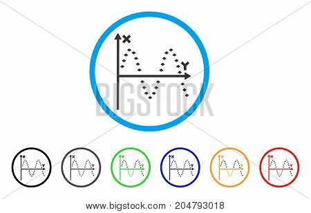 Dotted Sine Plot rounded icon. Style is a flat dotted sine plot gray symbol inside light blue circle with black, gray, green, blue, red, orange variants.