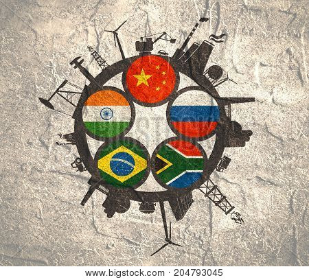 BRICS - association of five major emerging national economies members flags in gears icons. Trade union. Industry icons located around circle. Brochure or web banner design.