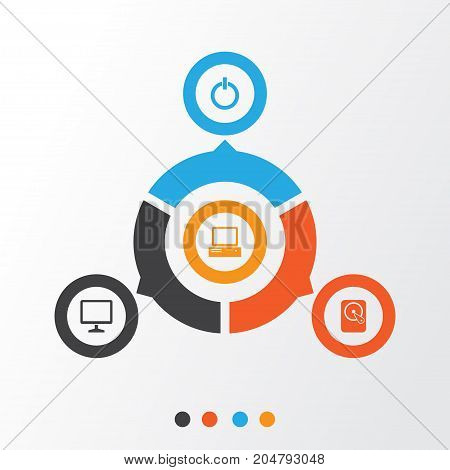 Digital Icons Set. Collection Of Desktop, Monitor, Hdd And Other Elements