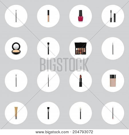 Realistic Eyelashes Ink, Cosmetic Stick, Mouth Pen And Other Vector Elements