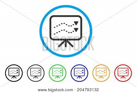 Dotted Trends Board rounded icon. Style is a flat dotted trends board grey symbol inside light blue circle with black, gray, green, blue, red, orange color versions.