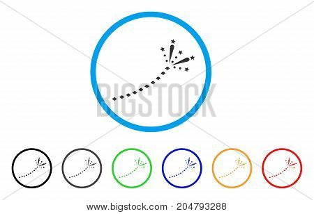Fireworks Trace rounded icon. Style is a flat fireworks trace gray symbol inside light blue circle with black, gray, green, blue, red, orange variants. Vector designed for web and software interfaces.
