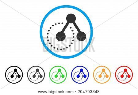 Molecule Structure Analysis rounded icon. Style is a flat molecule structure analysis gray symbol inside light blue circle with black, gray, green, blue, red, orange versions.