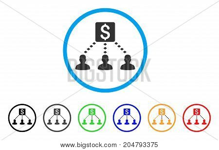 Money Recipients rounded icon. Style is a flat money recipients gray symbol inside light blue circle with black, gray, green, blue, red, orange color versions.