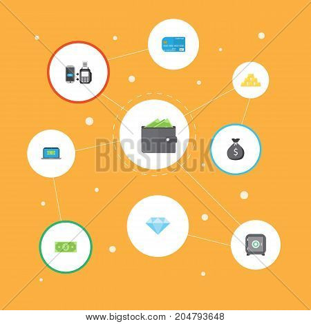 Flat Icons Payment, Finance Sack, Remote Paying And Other Vector Elements