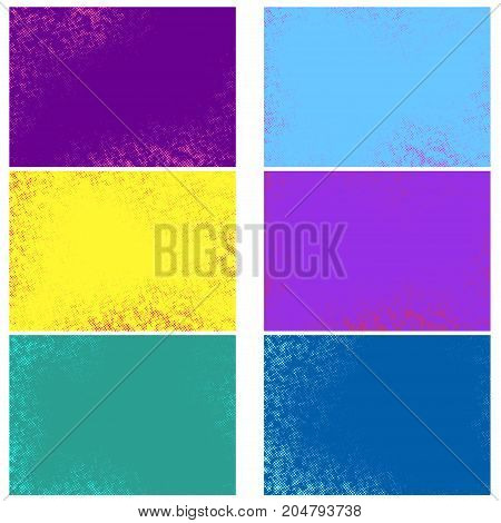 Bright abstract pop art vintage graphic effect dotted backgrounds collection. Retro grain halftone fashion texture. Set of colorful comic page cartoon backdrop layouts. Vector illustration