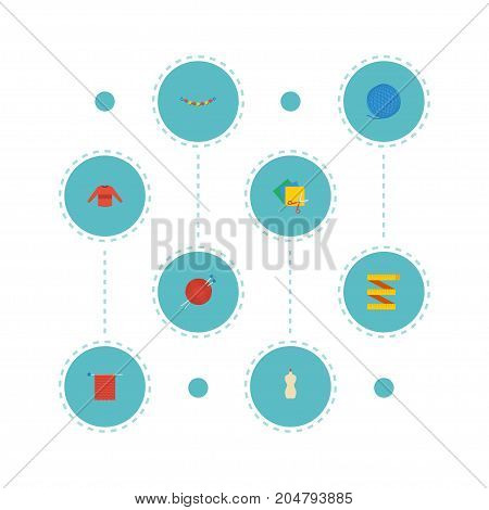 Flat Icons Needlework, Jewelry, Pullover And Other Vector Elements