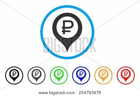 Rouble Bank Marker rounded icon. Style is a flat rouble bank marker gray symbol inside light blue circle with black, gray, green, blue, red, orange variants.