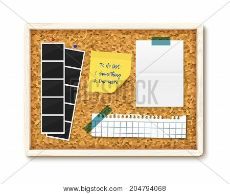 Items pinned to corkboard with wood frame, ready for customized text. . Vector illustration. Photos, sticky note, torn notebook paper, to do list