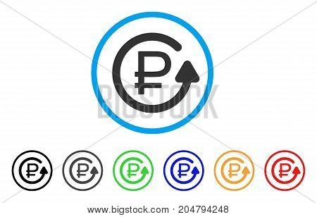 Rouble Chargeback rounded icon. Style is a flat rouble chargeback grey symbol inside light blue circle with black, gray, green, blue, red, orange versions.