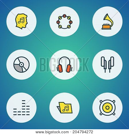 Music Colorful Outline Icons Set. Collection Of Loudspeakers, Earphones, Lover And Other Elements
