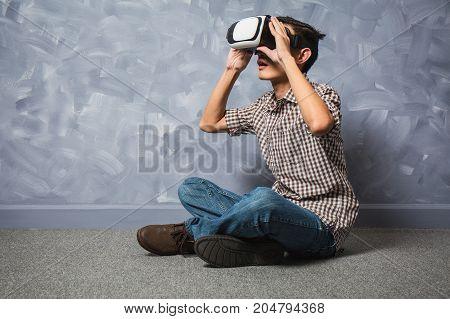 Asian Men Playing Virtual 3D Vr Glasses.